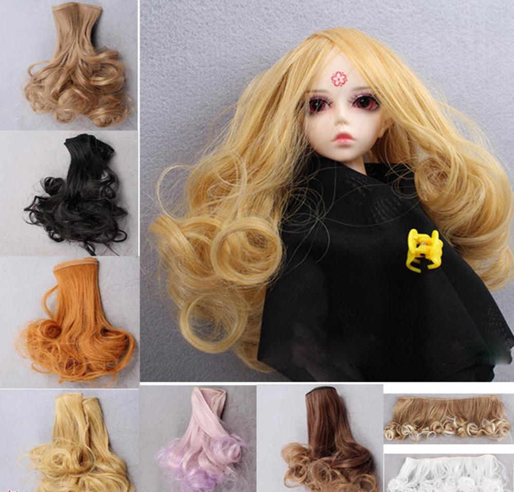Curly DIY Doll Hair For Blythe Doll Wig For 1/3 1/4 BJD SD Doll Wavy Handmade Dolls Wig Hair 15*100CM Brown Flaxen Brown Gold(China (Mainland))