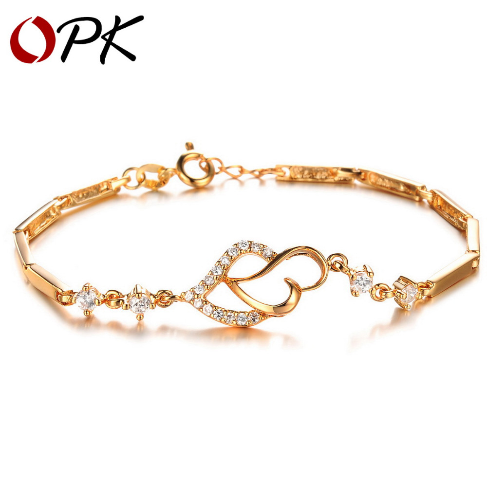 OPK JEWELRY Luxury 18K Gold Plated Classic Double Heart Chain Bracelet Shining Crystal Stone High Quality Women Jewelry, 412 <br><br>Aliexpress