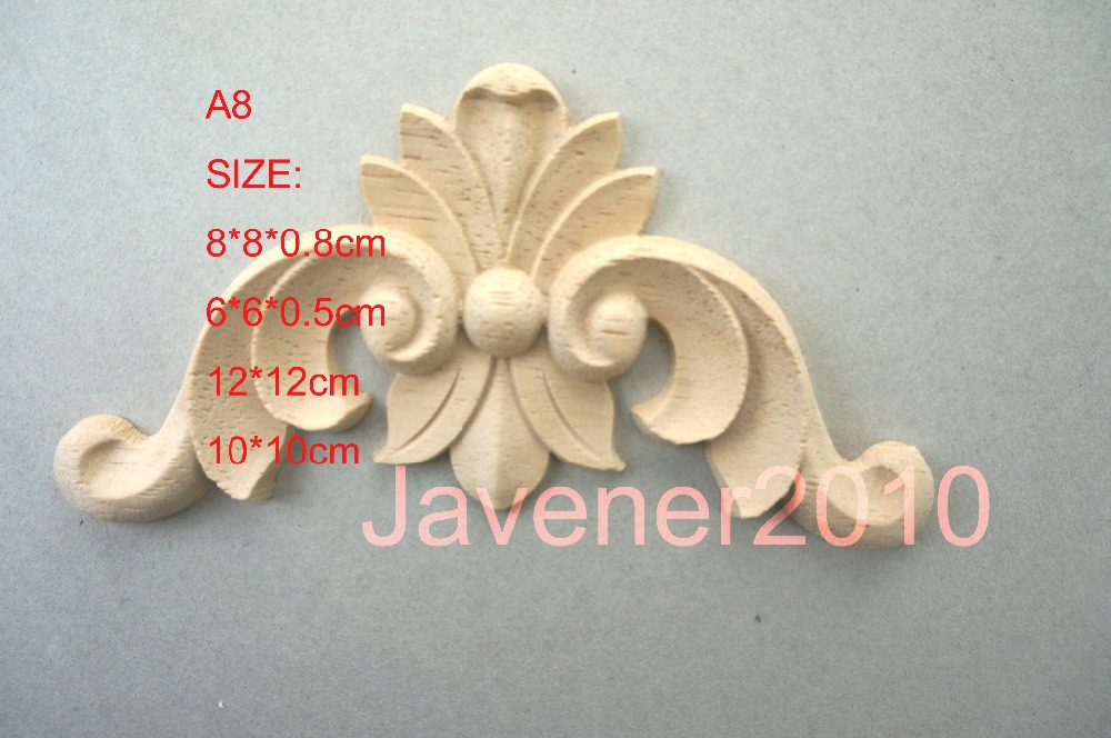 A8- 10*10cm Rubber Wood Carved Carving Corner Onlay Applique Architectural Cabinet Furniture Door Unpainted Frame(China (Mainland))