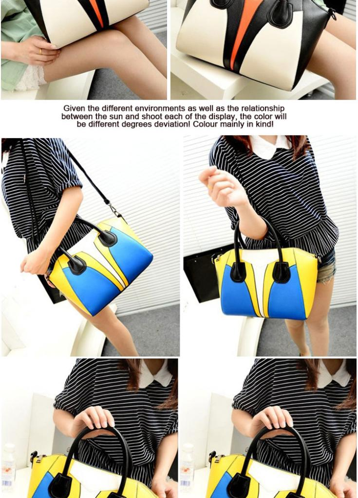 Hot 2015 New Pu Women Fashionable Handbags Letter Hit The Color