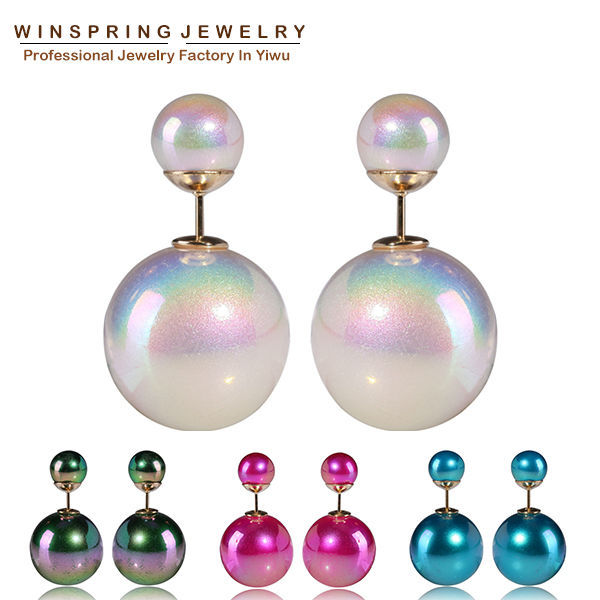 2014 Colorful Pearl Earrings 4Colors Cheap High Quality Shining Round Pearl Gold Plated Stud Earrings For Girls Free Shipping(China (Mainland))