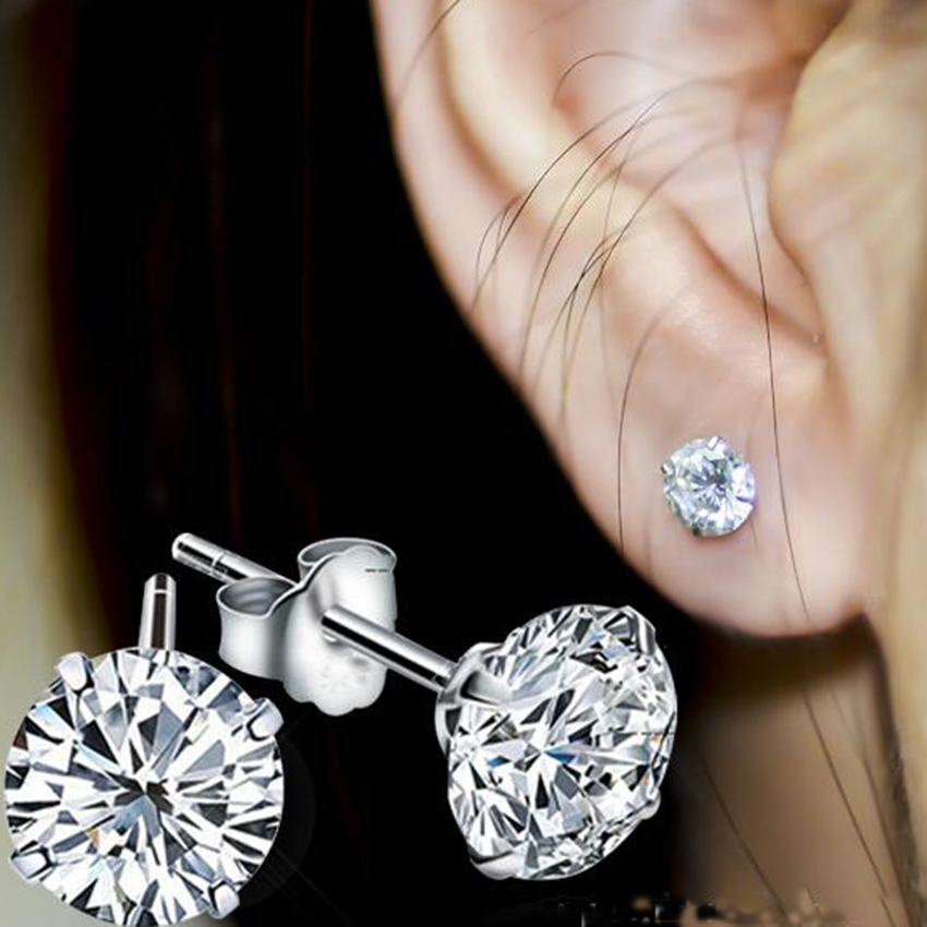 2Piece High Quality Stainless Steel White Crystal Zircon Earrings Channel Brinco Post Stud Earrings For Women Earrings Jewelry(China (Mainland))