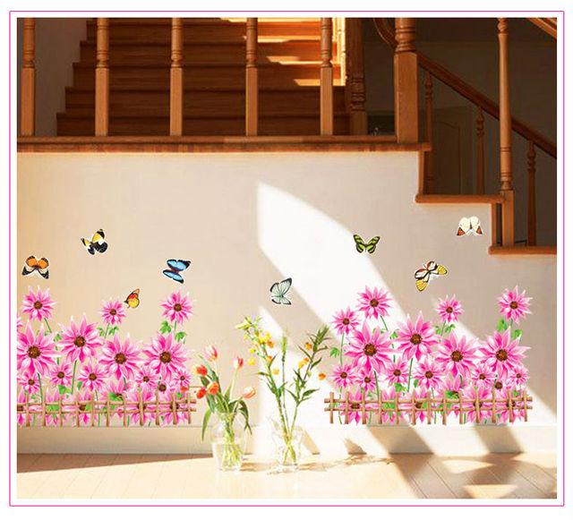 Fleurs papillon d coration de la maison stickers muraux - Stickers miroir cuisine ...