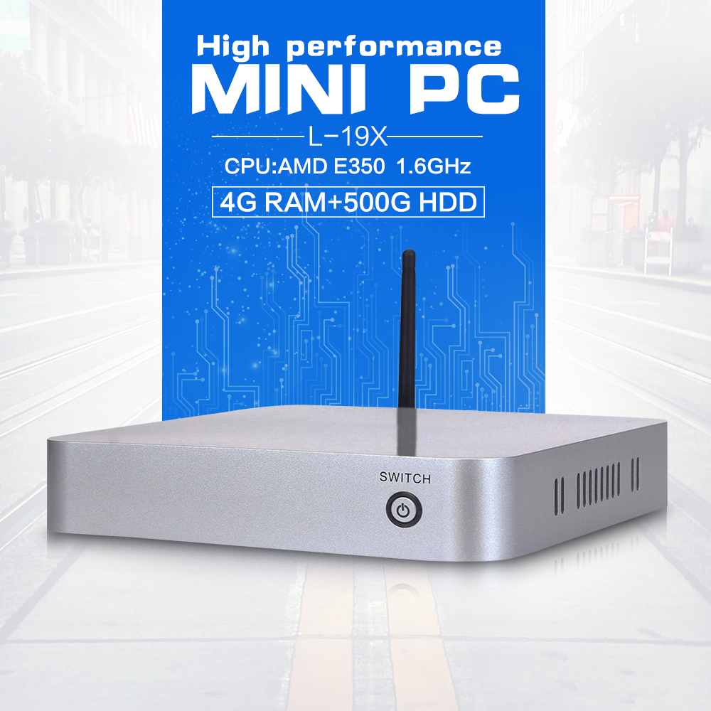 car pc windows office computer mini pc win7 L-19X E350 4G RAM 500G HDD support Home Premium or embedded OS High Performance(China (Mainland))