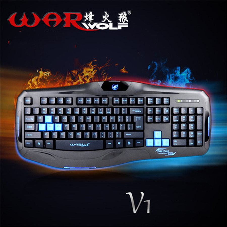 Warwolf V1 Gaming LED Backlit Keyboard Ergonomic USB Wired Teclado Fire Spider Sports Waterproof For Computer Laptop Desktop(China (Mainland))