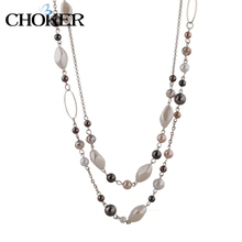 Steam Punk Woman Accessories Necklaces & Pendants Gold Plated Chain Natural Stone Beads Necklace Gift For Mothers Day SNE140254