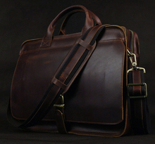 High class Top Genuine Leather Men's briefcase shoulder bag Messenger bag Leather Briefcase Men Tote business Case laptop Bag(China (Mainland))