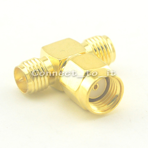 50PCS SMA adapater RP-SMA Plug male to 2 RP-SMA Jack female adapter 3 way connector adapter<br><br>Aliexpress