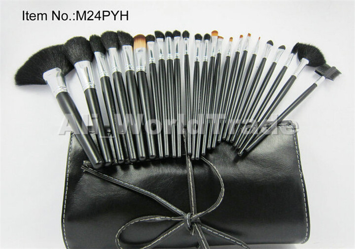 HOT Sale 24Pcs Professional Cosmetic Make Up Silver Brush Set + Leather Pouch Free DHL Shipping 48 Sets/lots<br><br>Aliexpress