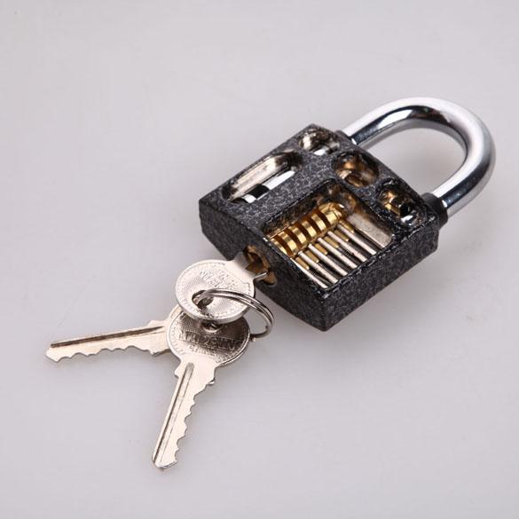 Modern Style Professional Visible Cutaway Practice Padlock Lock Training Skill For Locksmith with 3 Keys(China (Mainland))