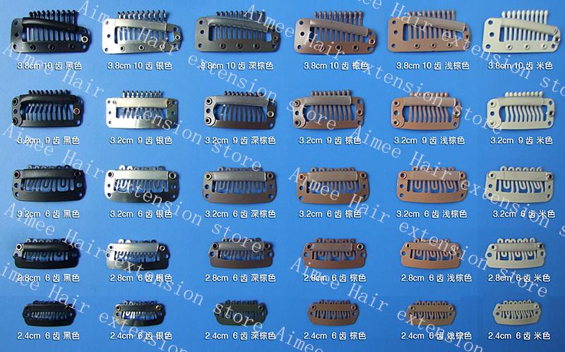 Free shipping 100pcs Blonde 3 8cm10teeth font b hair b font snap wigs clips for machine