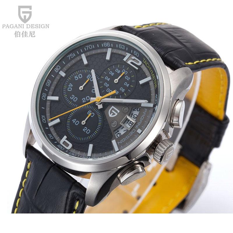 Гаджет  Watches men luxury brand Pagani Design fashion Chronograph men military watches leather men sport quartz watch relogio masculino None Часы