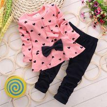 2016 nuevo conjunto de ropa para niña con estampado en forma de corazón lazo lindo 2 piezas conjunto de ropa para niños camiseta + Pantalones de alta calidad(China)