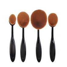 4Pcs Natural Makeup New Big Oval Tooth Brush Style Foundation Makeup Air Brush Loose powder Synthetic Hair Brush Big One(China (Mainland))