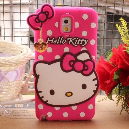 New Arrial 3D Cute Hello Kitty Silicone Case Cover for Samsung galaxy Note 3 N9000 With Love bowknot + Metal pendant chain(China (Mainland))