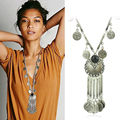 2016 Fahion Bohemian Style Gypsy Maxi Necklace Collier Femme Vintage Statement Necklaces Pendants Coin Tassel Necklace