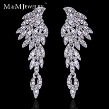New ! Real Gorgeous Eagle Shape Crystal Bridal Earrings Silver Plated Long Drop Earrings for Women Wedding Accessories EH209(China (Mainland))