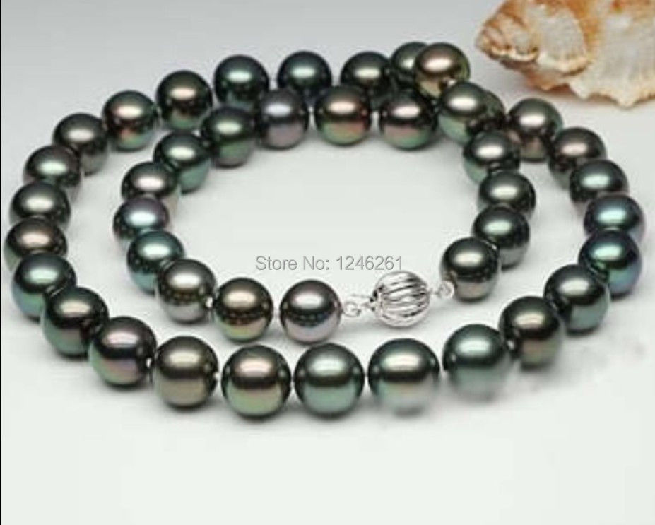 AAA 9-10mm Black Tahitian Cultured Pearl Shell Necklace Rope Chain Beads Jewelry Making Natural Stone 18inch (Minimum Order1)(China (Mainland))
