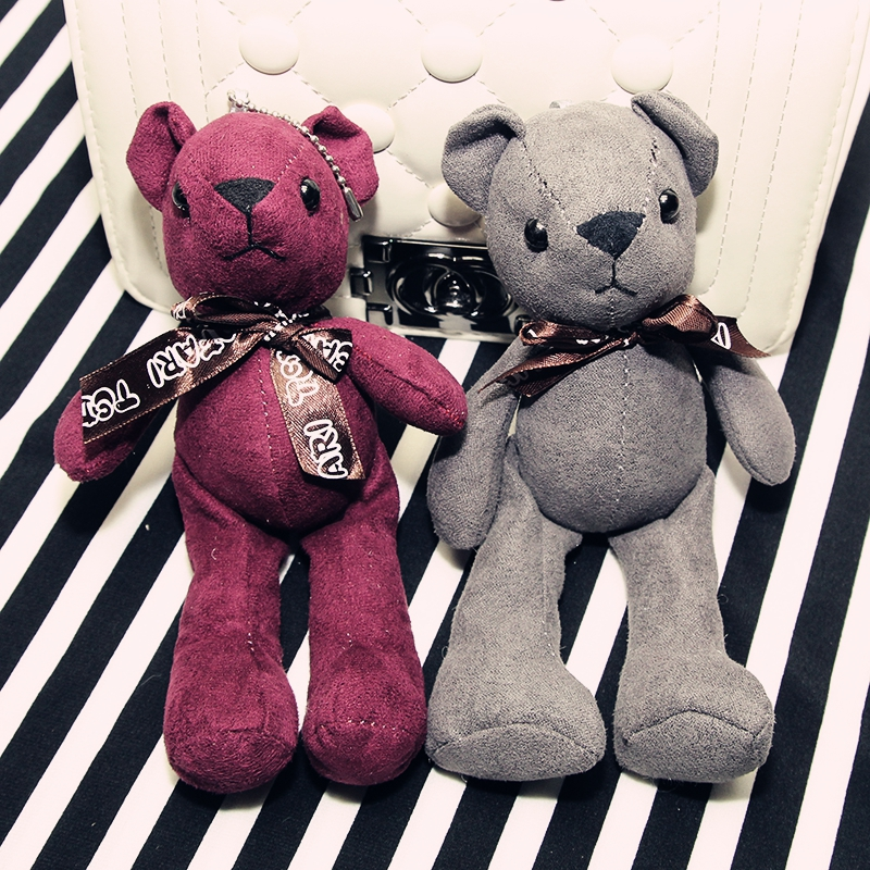 5Pcs/Lot New Teddy Bear Plush Toys Bears Toy Wih Chan By Handbag Pendant Bow Red And Grey Cute Gifts High Quality Stuffed(China (Mainland))