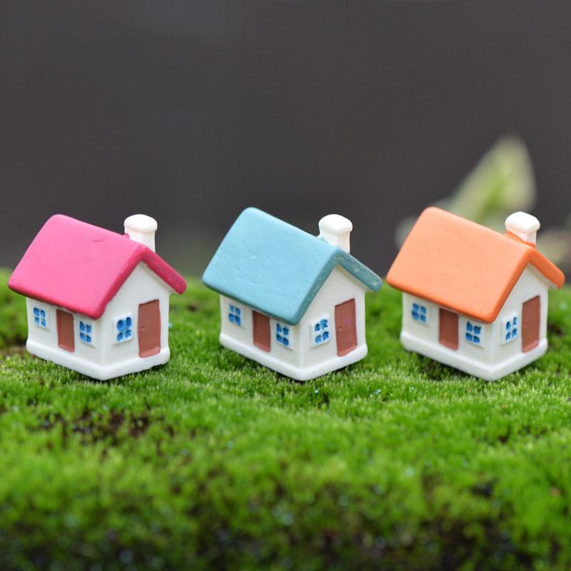 3pcs Mix Color Mini House Resin Craft Home Desktop Decor Miniature Landscape Moss Bonsai Terrarium Artificial Figurine Dollhouse(China (Mainland))