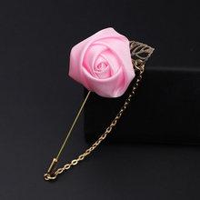 Vestito degli uomini di Rosa Del Fiore Spille Spilli Tessuto della Tela di canapa Nastro Cravatta 9 Colori Spilla per Le Donne E Gli Uomini Vestiti di Vestito accessori(China)