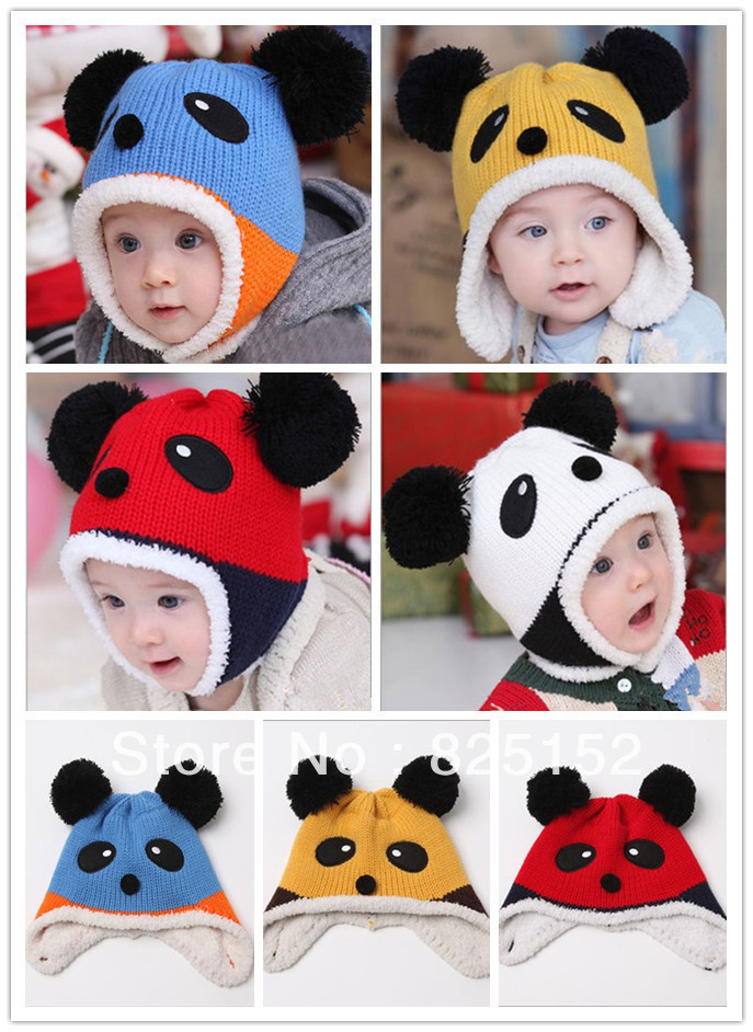 baby Gril Boy autumn and winter hot-selling beanie caps, panda hat, baby thermal protector ear cap for kids 6month -3 years old(China (Mainland))