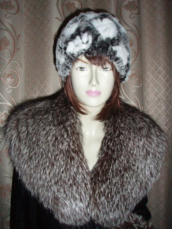 Hat winter cold warm cap women rabbit fur hat elastic knitting lady wool caps leather - yufang yuan's store