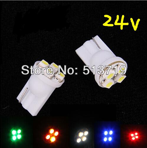24v car led auto led w5w 194 4SMD T10 4LED 4 LED smd 3528 1210 Wedge lamp Bulbs Car Side Indicator Light(China (Mainland))