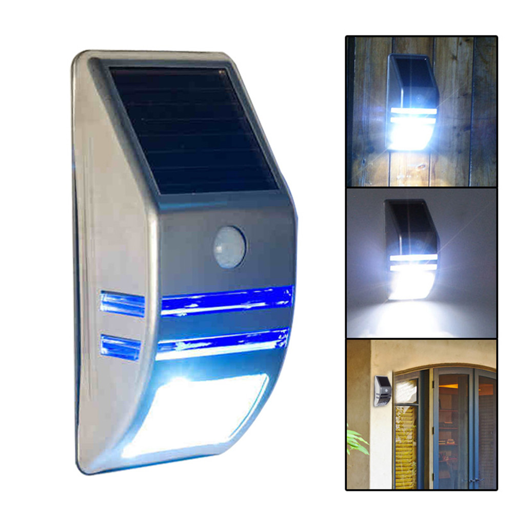 leds outdoor solar motion sensor pir security wall light