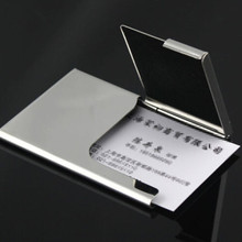 Top quality id Holders !!2015 Thumb Slide Out Stainless Steel Pocket Business Credit Card Holder Case ID name credit holder(China (Mainland))