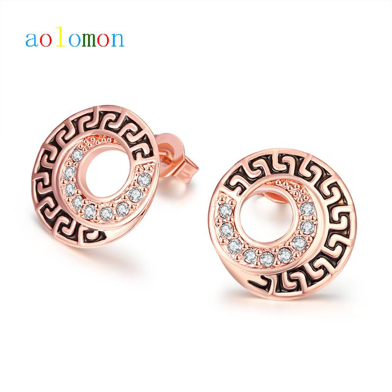 Hot Sale Anniversary Party Earring 18K Rose Gold Plated CZ Diamond Rock The Ear Jewelry For Women bvg Style Accessories(China (Mainland))
