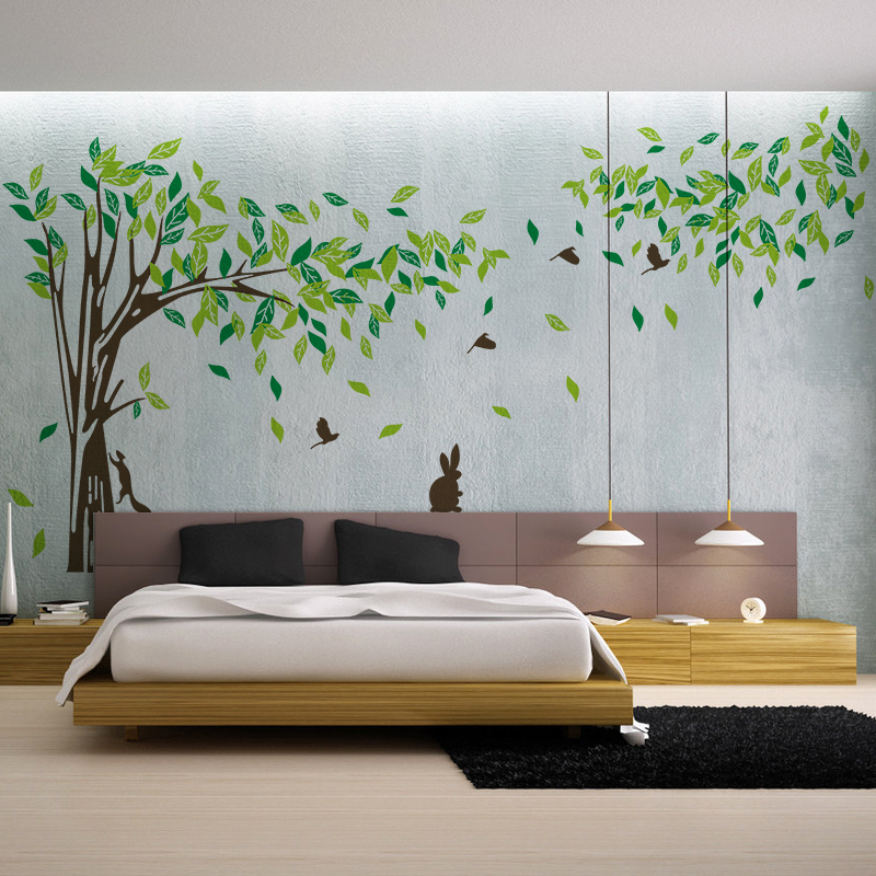 Large wall decal tree removable green wall decor living for Living room wall decor