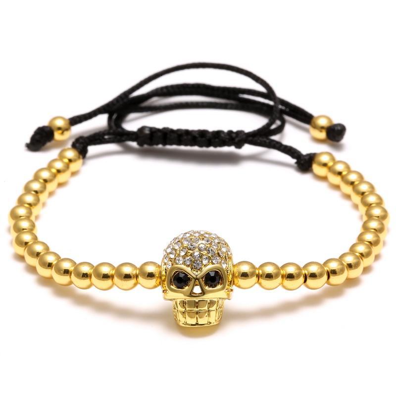 Adjustable DIY Handmade Black Gold Skull Charm Bracelet 4mm Charms Beads Crystal Rhinestone Braided Weaving Bracelet Men Jewelry(China (Mainland))