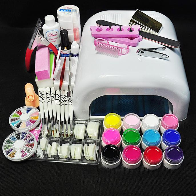 White Lamp & UV Gel Nail New Pro 36W UV GEL Nail Art Tools Sets Kits ...