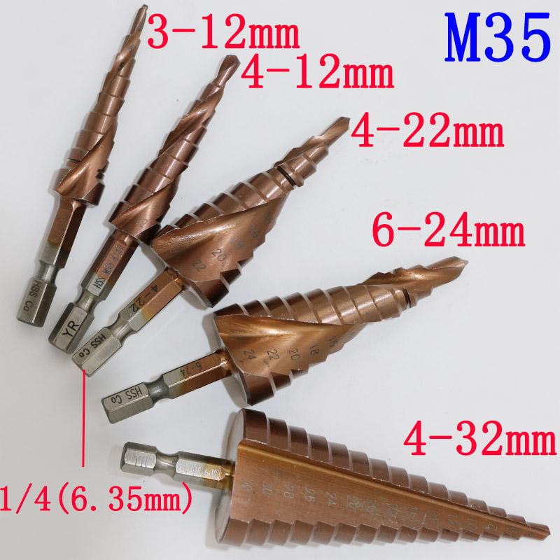 5pcs HSS-CO/M35 Hexagonal Shank Spiral Groove Step Drill Bit Metal Cone Step Drill Bit Stainless Steel Hole Saw Hole Cutter<br><br>Aliexpress