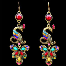Vintage Look Tibet Alloy Antique Bronze Plated Fantastic Crystal Peacock Pendant Dangle Earrings TE56(China (Mainland))