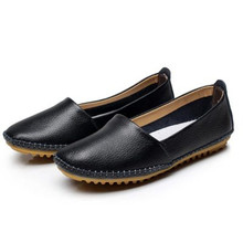 New 2016 Women Genuine Leather Shoes Women Flats Fashion Casual Women Shoes Slip On Women Loafer Flats Shoes Zapatos Mujer#SJL32(China (Mainland))