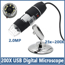 Digital Microscope 200X USB 8 LED 2.0MP Endoscope Magnifier Camera  Measure Software Promotion Free shipping
