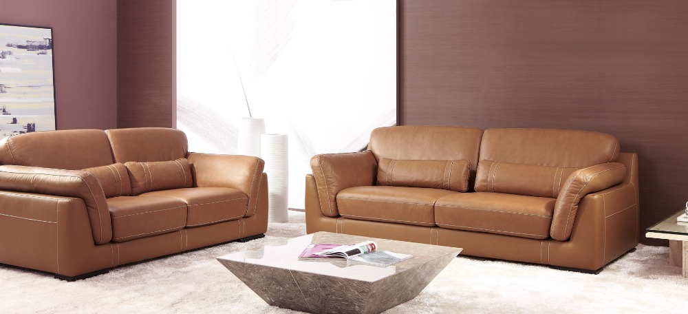 Designer Modern Style Top Graded Cow Genuine Leather Corner Living Room Sofa Set Suite Home