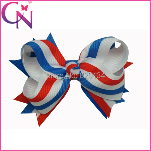 4th Of July Baby Childrens Hairbows Boutique Girls Grosgrain Hair Patriotic Bows Free Shipping 10pcs/lot CNHBW-1503232()