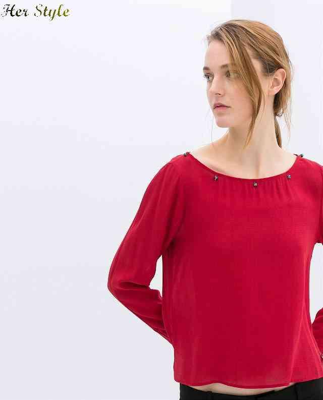 Free Shipping new 2015 irregular beads buttons Turtleneck shirt womens shirts 007 1426160076(China (Mainland))