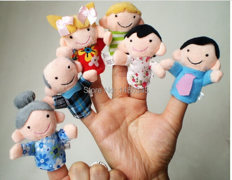 Free Shipping brinquedo fantoche cheap hand puppets 6pcs Family Finger Puppet Plush Telling Dolls For Children hand puppet boy(China (Mainland))