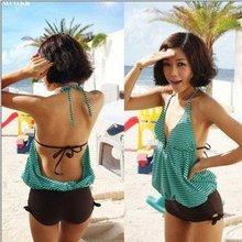 Wholesale Women Tankini Halter Swimsuit Shorts Bathing Set, free shipping,size M L XL XXL XXXL SW001(China (Mainland))
