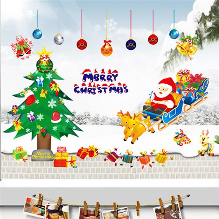 New Fashion santa claus Father Christmas tree Wall Sticker decoration ...