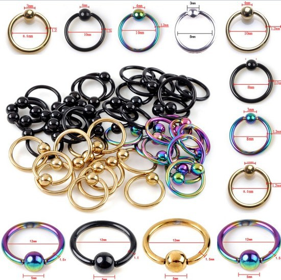 HOT SELLING 10pcs Captive Bead Ring Ball Hoop Eyebrow Nipple Nose Lip Earrings Body Piercing(China (Mainland))