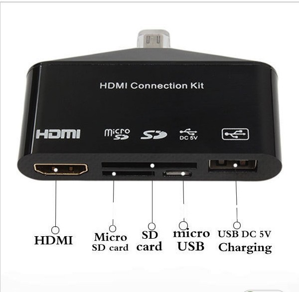MHL to HDMI HDTV HDTV Adapter USB OTG Card Reader Camera Connection kit for Samsung Galaxy S3 I9300 S4 I9500 Note 2 with package(China (Mainland))
