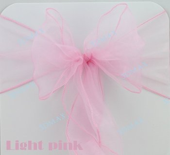 """Free Shipping 50 Pieces light pink 7""""x108"""" Organza Chair Sash Bow Wedding Party Supply Professional Decorations Popular Color"""