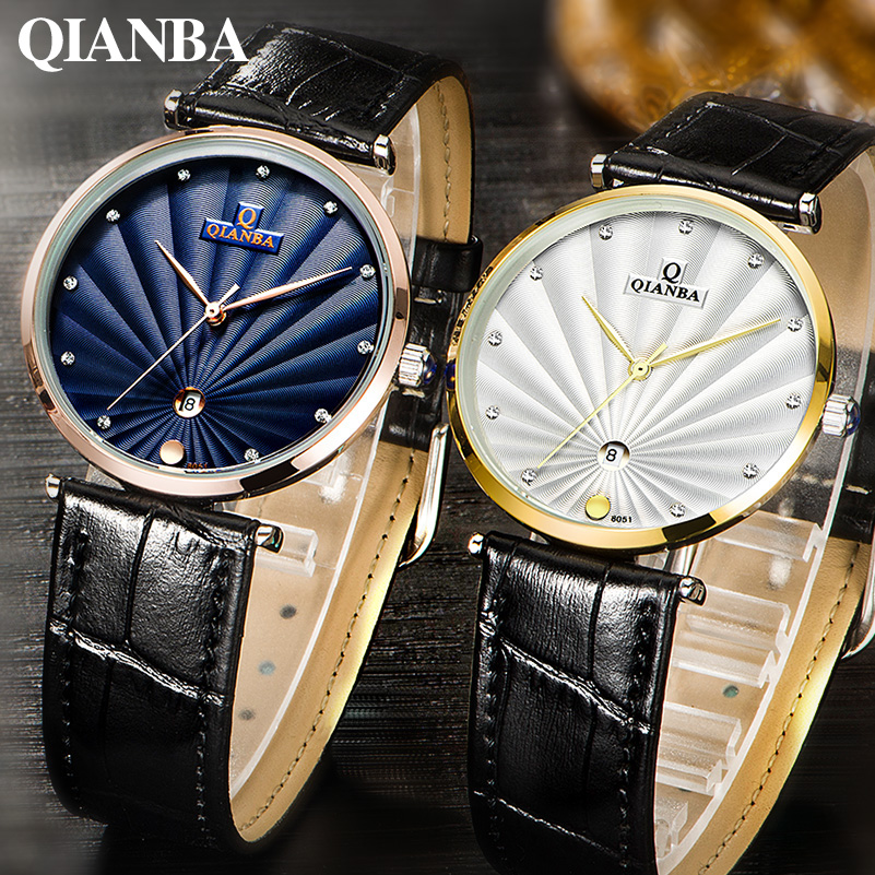 QIANBA Luxury Top Brand Quartz Men Women lover's Genuine Leather Strap Simple Style Business Dress Relogios Casual Fashion Watch(China (Mainland))