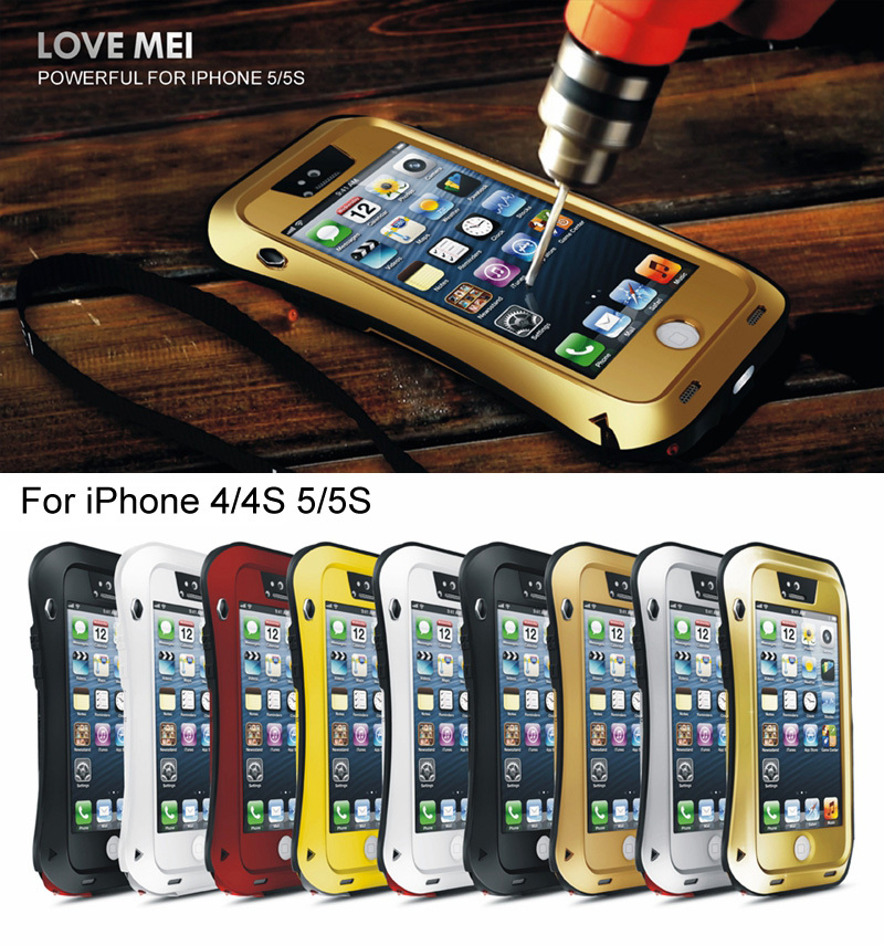 Love Mei Waterproof Shockproof Rugged Tempered Gorilla Glass Small Waist Metal Aluminum Case Cover iPhone 5 5S 4 4S Original - LEMFO 3C Brand Mall store