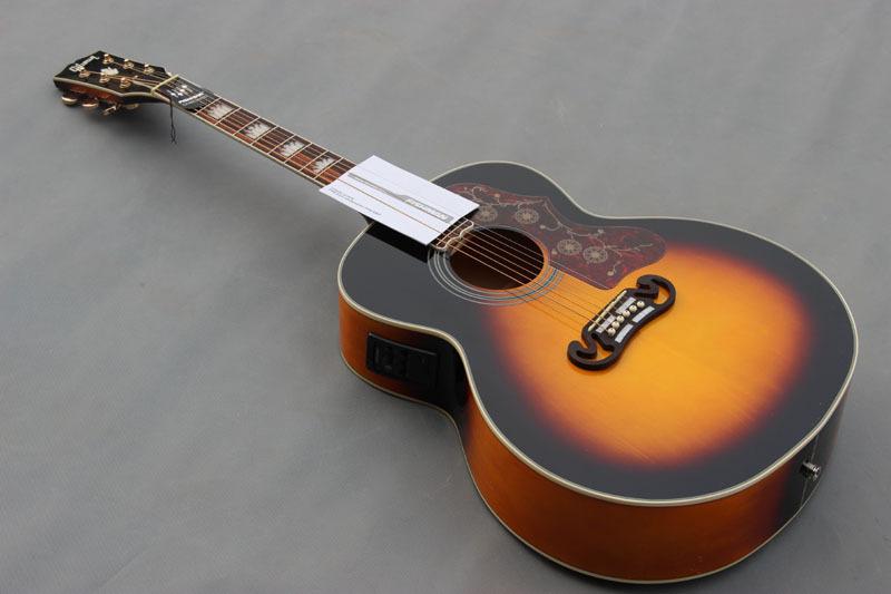 Wholesale hot selling 43'' guitar,sunburst color Jumbo acoustic electric guitar,OEM handmade free shipping guitars(China (Mainland))